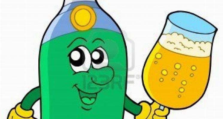 La bottiglia di spumante in una vignetta