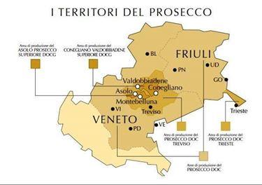 I territori in cui viene prodotto il prosecco