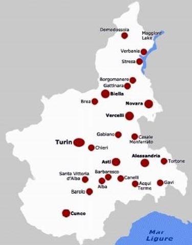 La mappa delle denominazioni piemontesi