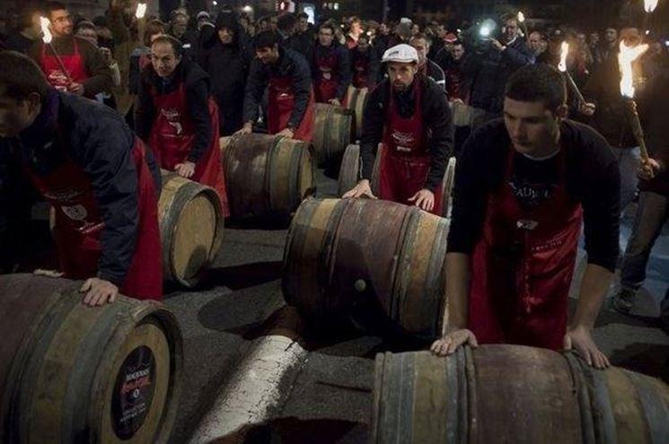 Festa per la produzione del Beaujolais Nouveau a Lione, in Francia