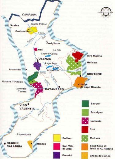La mappa dei vini calabresi