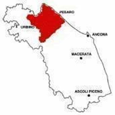 L'area di produzione del Colli Pesaresi